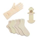Sockenbretter, Handschuhschablonen, Garnrestehalter